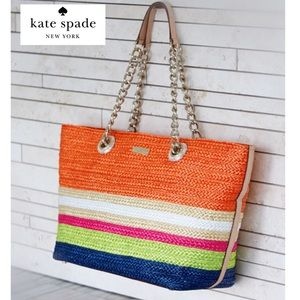 Kate Spade Chelsea Multi-Color Striped Straw Tote